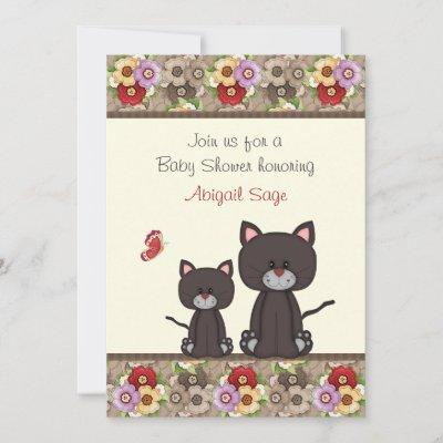 Cats and Flowers Baby Shower Invite for Girls