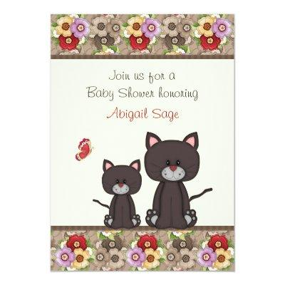 Cats and Flowers Invite for Girls