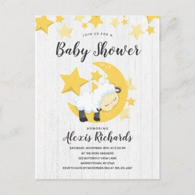 Celestial Moon Stars & Lamb Baby Shower Invitations