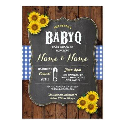 Chalk BaByQ BBQ Baby Shower Blue Wood Invite