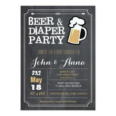 Chalkboard beer and diaper couples Invitations