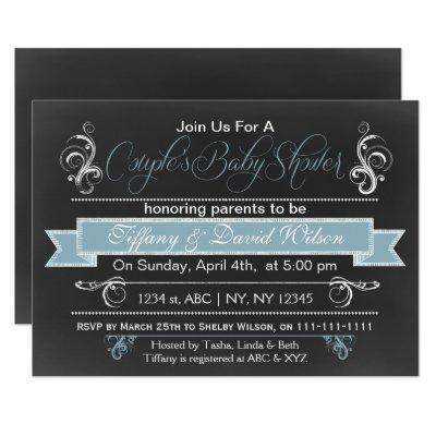 chalkboard blue Couple's Baby shower Invitations
