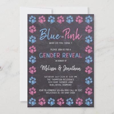 Chalkboard Blue Pink Paw Prints Gender Reveal Invitation