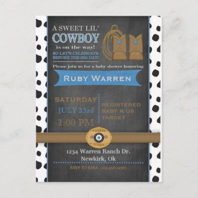Chalkboard Cowboy Baby Shower Invitation