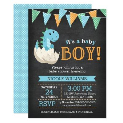 Chalkboard Dinosaur Boy Baby Shower Invitations