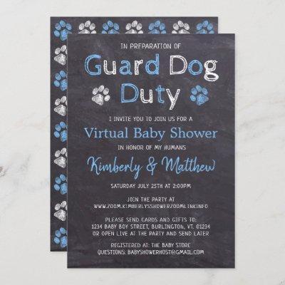 Chalkboard Dog Blue Boy Virtual Baby Shower Invitation