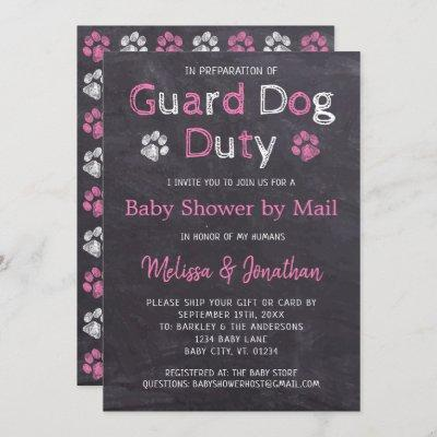 Chalkboard Dog Pink Girl Baby Shower By Mail Invitation
