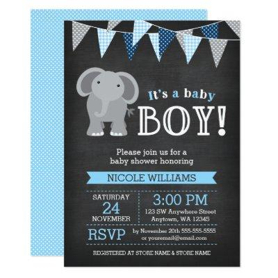 Chalkboard Elephant Boy Baby Shower Invitations