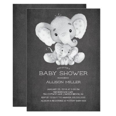 Chalkboard Elephant Neutral Baby Shower Invitation