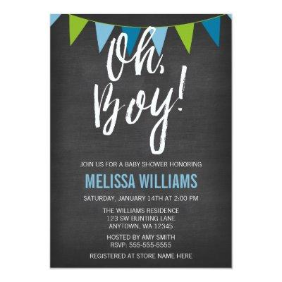 Chalkboard Green Blue Bunting Boy Invitations
