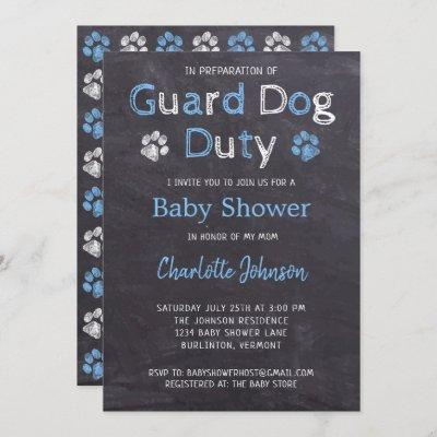 Chalkboard Guard Dog Duty Blue Boy Baby Shower Invitation