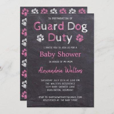 Chalkboard Guard Dog Duty Pink Girl Baby Shower Invitation