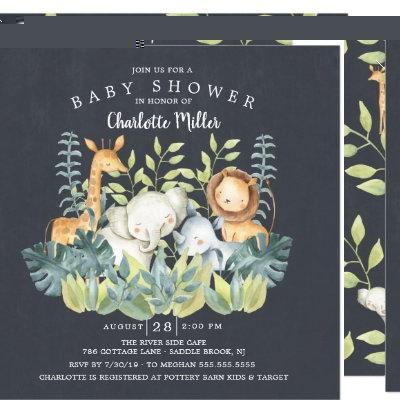 Chalkboard Jungle Animals Baby Shower Invitation