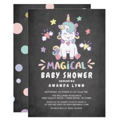 Chalkboard Magical Baby Shower Unicorn Invitations