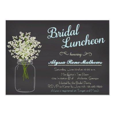 Chalkboard Mason Jar Baby's Breath Bridal Luncheon Invitations