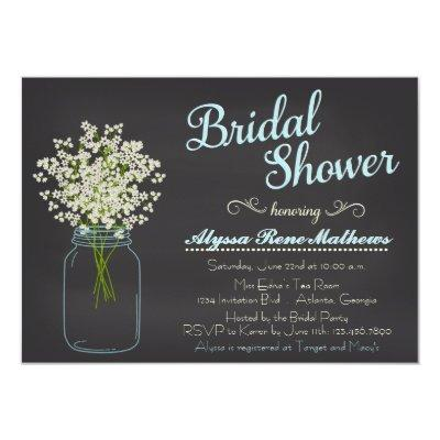 Chalkboard Mason Jar Baby's Breath Bridal Shower Invitations