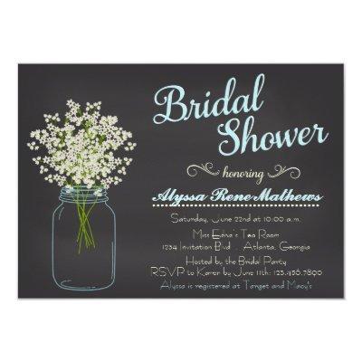 Chalkboard Mason Jar Baby's Breath Bridal Shower Invitations