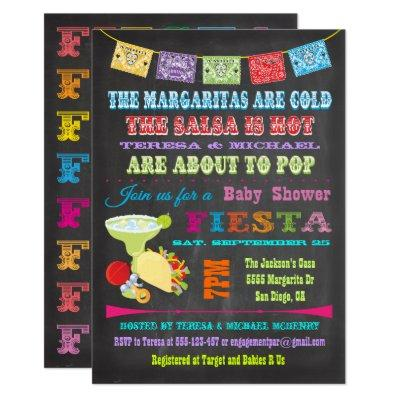 Chalkboard Mexican Fiesta Couples Baby Shower Invitation