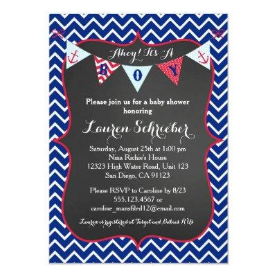 Chalkboard Nautical Baby Boy Shower Invitations