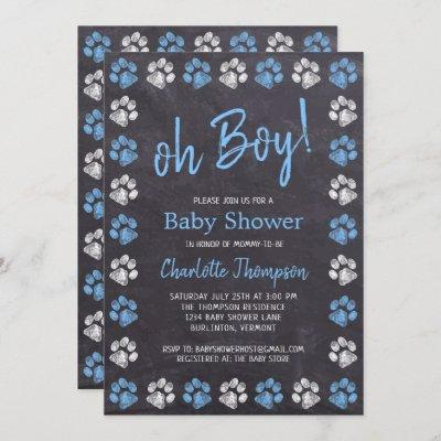 Chalkboard Paw Prints Blue Boy Baby Shower Invitation