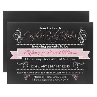 chalkboard pink Couple's Baby shower Invitation