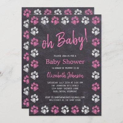 Chalkboard Pink Girl Paw Prints Baby Shower Invitation