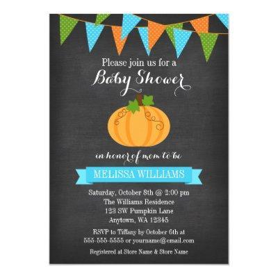 Chalkboard Pumpkin Bunting Boy Fall Baby Shower Invitation