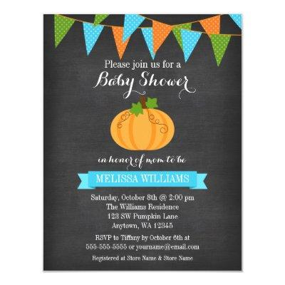 Chalkboard Pumpkin Bunting Boy Fall Baby Shower Invitations
