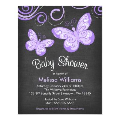 Chalkboard Purple Butterfly Swirls