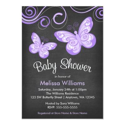 Chalkboard Purple Butterfly Swirls Invitations