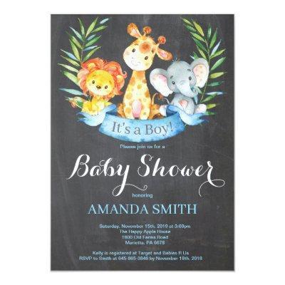 Chalkboard Safari Jungle Animals Boy Baby Shower Invitation