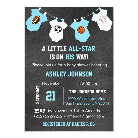Chalkboard Sports ALL-STAR Baby Shower Invitations