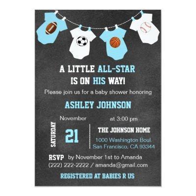 Chalkboard Sports Little ALL-STAR Baby Shower Invitations