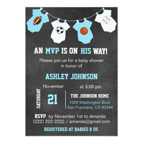 Chalkboard Sports Theme Baby Shower Invitations