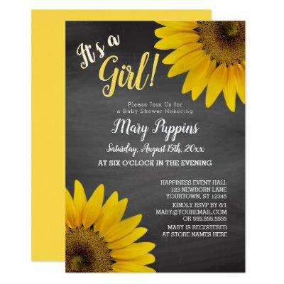 Chalkboard Sunflowers Garden Girl Baby Shower Invitations