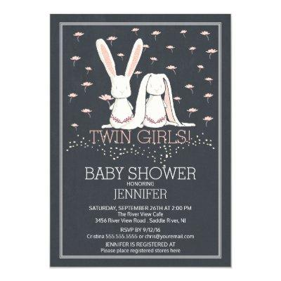 Chalkboard Sweet TWIN Girls Bunny Invitations