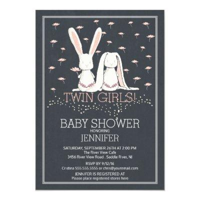 Chalkboard Sweet TWIN Girls Bunny Baby Shower Invitation