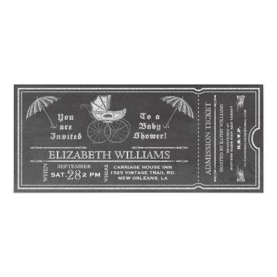 Chalkboard Vintage Baby Shower Ticket Invitation