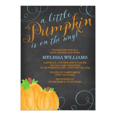 Chalkboard Watercolor Pumpkin Boy Invitations