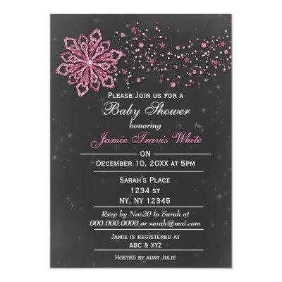 chalkboard Winter Snow pink Baby shower Invitations