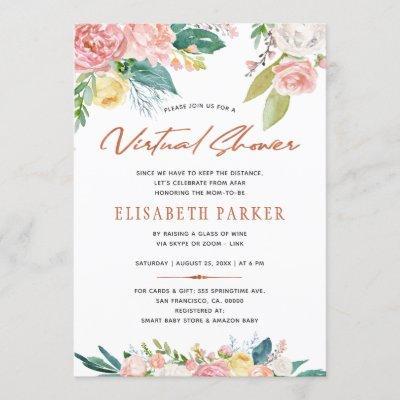 Change plans pink floral virtual baby shower invitation