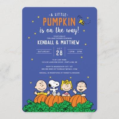 Charlie Brown and Gang Pumpkin Baby Shower Invitation