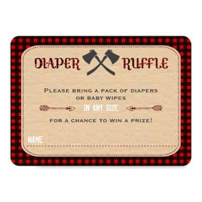 Charm Lumberjack Hunter Boy Diaper Raffle Ticket Invitation