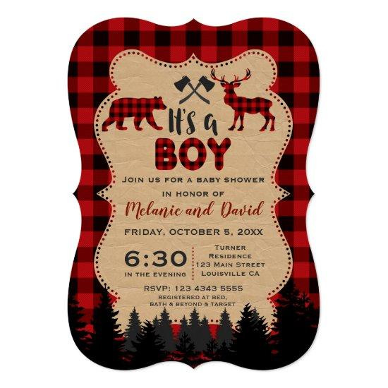Charm Lumberjack Little Hunter Baby Shower Card