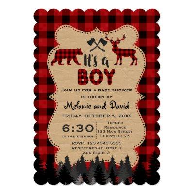 Charm Lumberjack Red Buffalo Boy Baby Shower Invitation
