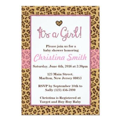Cheetah Print Baby Shower Invitations for a Girl