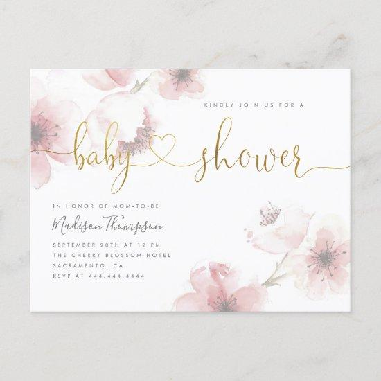 Cherry Blossom Gold Script Floral Baby Shower Invitation Postcard