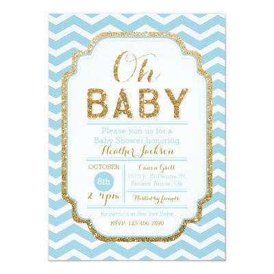 Chevron Blue And Gold Boy Baby Shower Invitation