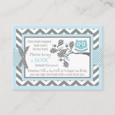 Chevron Blue Owl Read A Book Card