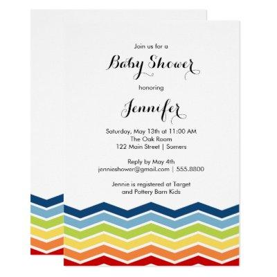 Chevron Rainbow Baby Shower Invitation-Boy or Girl Invitation